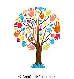 diversidade, coloridos, árvore, mão, cultural, equipe