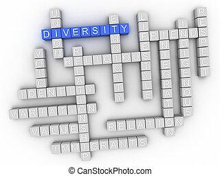 diversidade, conceito, palavra, nuvem, 3d