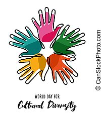 diversidade, cor, cartaz, cultural, mãos humanas, dia