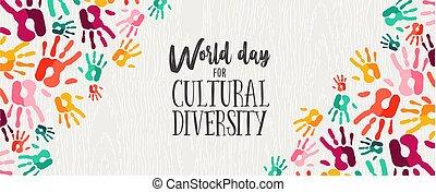 diversidade, cor, cultural, mãos humanas, bandeira, dia