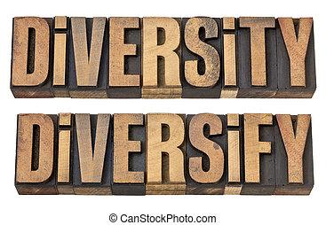 diversidade, e, diversificar, palavras, em, madeira, tipo