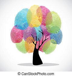 diversidade, impressões, árvore, dedo