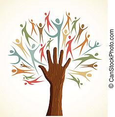 diversidade, jogo, árvore, mão humana