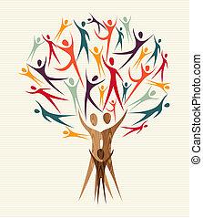 diversidade, jogo, árvore, pessoas