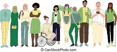 diversidade, jovem, social, diferente, pessoas., grupo