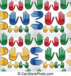 diversidade, lustroso, padrão, cima, mãos