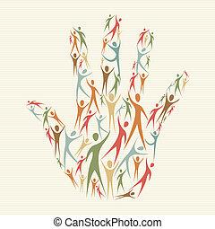 diversidade, mão humana, conceito