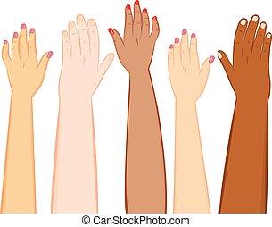 diversidade, mãos, pele, tons