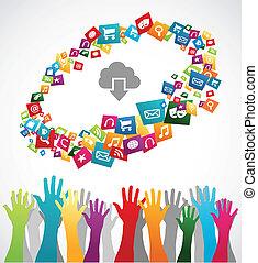 diversidade, móvel, aplicação, mãos