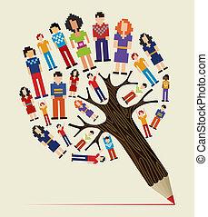 diversidade, pessoas, conceito, lápis, árvore