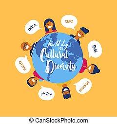 diversidade, pessoas, cultura, diverso, dia, cartão