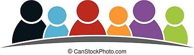 diversidade, pessoas, grupo, unidas, logotipo