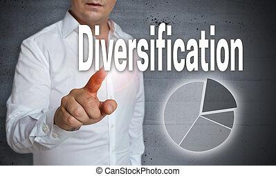 diversificação, ícone, touchscreen, é, operado, por, um, homem
