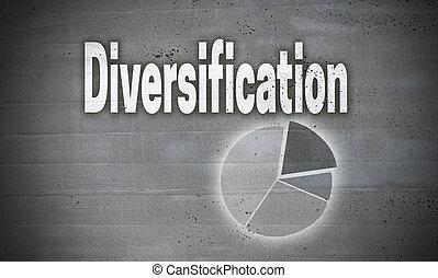diversificação, ligado, parede concreta, fundo