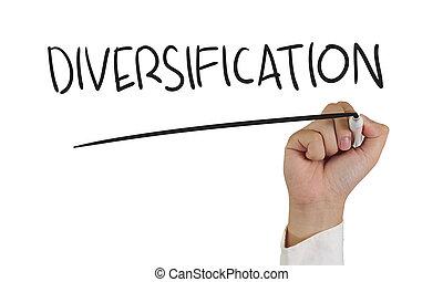 diversificação, palavra, conceito