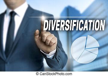 diversificação, touchscreen, é, operado, por, homem negócios