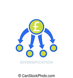 diversification, diversified portfolio icon with pound, eps 10 file, easy to edit