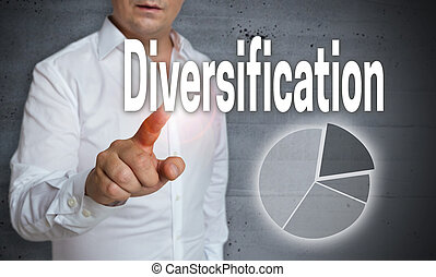 Diversification Icon touchscreen is operated by a man