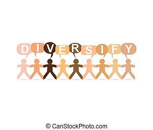 Diversify word in speech bubbles with cut out paper people chain in different skin tone colors