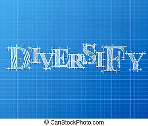 Diversify Word Blueprint - Diversify text hand drawn on...