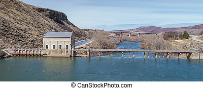 Unique view of the Boise river and historic Diversion Dam in Idaho