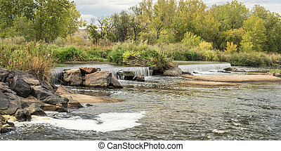 water diversion dam on the South Platte River in northern Colorado below Denver, early fall