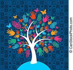 diversità, albero, mani, fondo