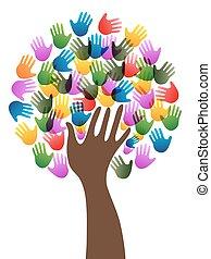 diversità, albero, mani
