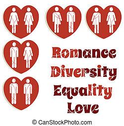 diversità, amore, set, uguaglianza, grafica