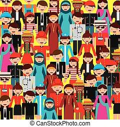 diversità, disegno, persone