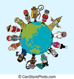 diversità, file, persone, distintivo, outfit., illustrazione, editing., vettore, mappa, facile, mondo, a più livelli, cartoni animati