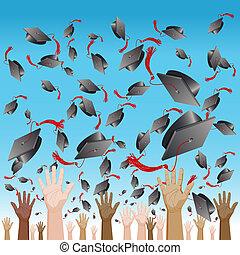 diversità, giorno graduazione, berretto, lanciare in aria