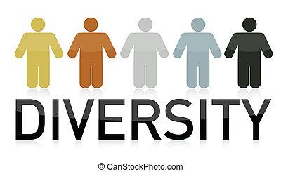 diversità, illustrazione, persone