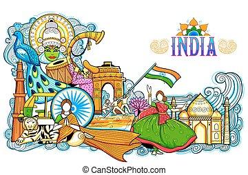 diversità, incredibile, festival, esposizione, india, cultura, fondo, monumento, relativo