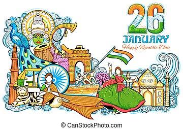 diversità, incredibile, festival, gennaio, esposizione, india, relativo, 26th, cultura, indiano, repubblica, fondo, monumento, giorno, celebrazione