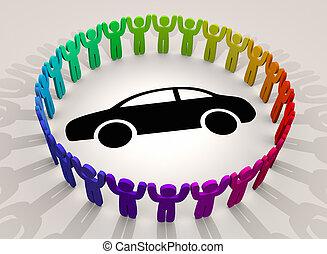 diversità, intorno, persone, automobile, veicolo, illustrazione, gruppi, automobile, 3d