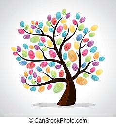 diversità, stampe, albero, dito