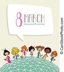 diversité, 8, mars, jour, femmes
