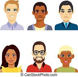 diversité, avatar, gens