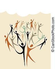 diversité, forme, ensemble, arbre, humain