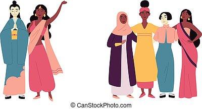 diversité, groupe, women., friendship., musulman, gens., multiculturel, multiracial, indien, africaine, social, asiatique, divers