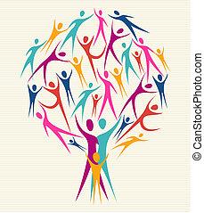 diversité, humain, couleurs, arbre, ensemble