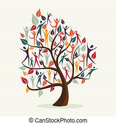 diversité, humain, feuilles, arbre, ensemble