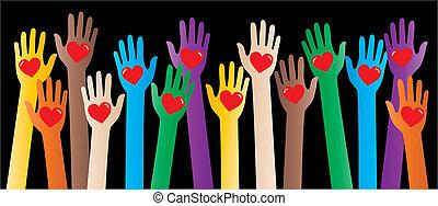 diversité, liberté, paix, en-tête, amour, bannière