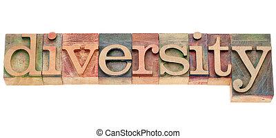 diversité, mot, dans, letterpress, type