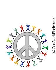 diversité, signe, illustration, paix
