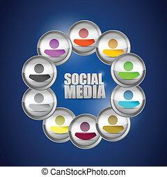 diversité, social, média, concept, illustration