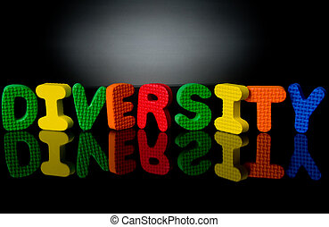 Diversity-2 - Colorful sponge letters showing diversity