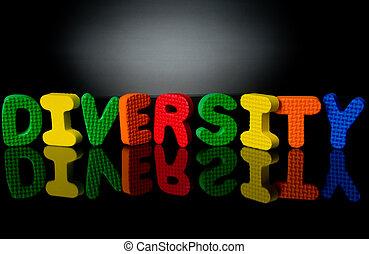 Diversity-2 - Colorful sponge letters showing diversity