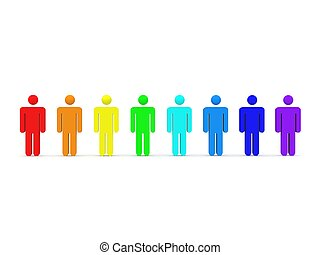 3d render of 8 figurines in rainbow colors in a row